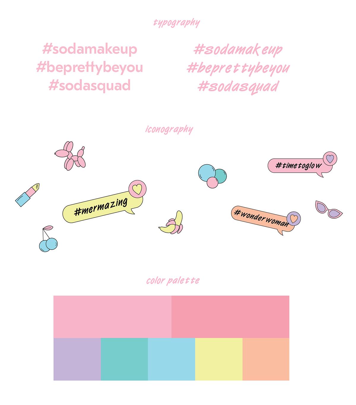 soda化妆品字体与色彩搭配